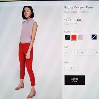 Brand new LOVE BONITO Red Patrice cropped pants medium