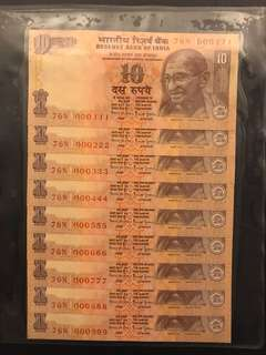 Fancy numbers 000111 - 999 india 10 Rupees