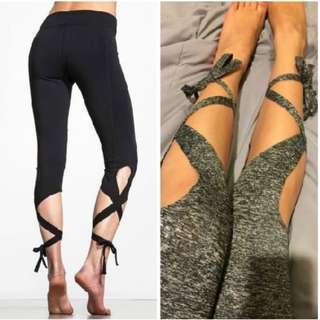 High Waist Tie Elastic Leggings Cross Pattern Leggings