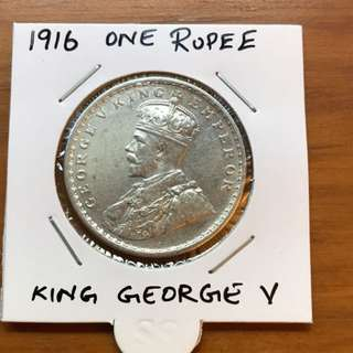 1916 King George 5 ONE Rupee British india