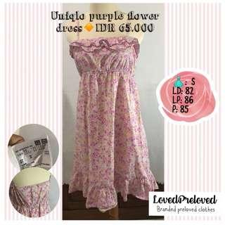 Uniqlo flower purple dress