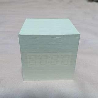 LED Digital Alarm. Voice activated. White wood texture w blue LED.