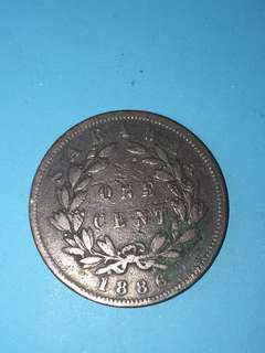 Sarawak copper coin 1 cent Year 1886 sale 30%
