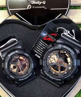 GSHOCK BLACK ROSEGOLD COUPLE WATCH
