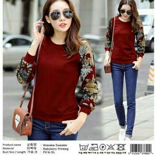 WASAKA SWEATER  BAHAN BABYTERY FULL PRINT.SIZE FIT TO XL LD100CM,PB60CM