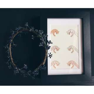 Framed original foxes illustration