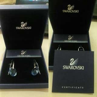 Swarovski Light Sapphire Crystal, Earrings Galet Rhodium Plated