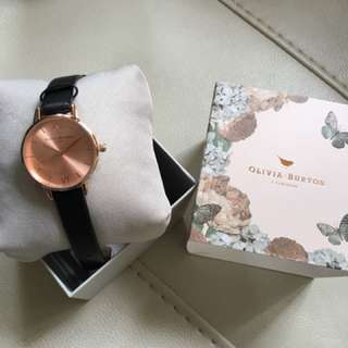 Midi Dial Black & Rose Gold Watch