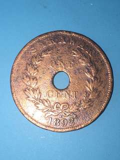 Sarawak copper coin 1 cent Year 1892 sale 30%