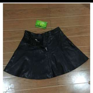 H&M LEATHER BLACK MINI SKIRT 1000