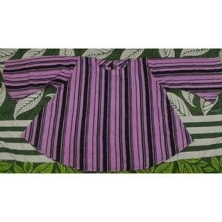 Blouse Jumbo fit to XL stripe ungu hitam