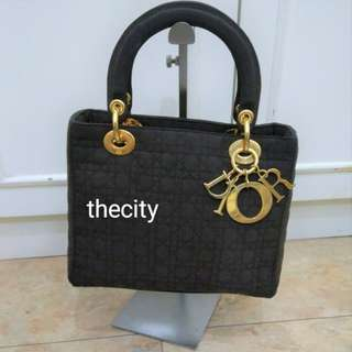 AUTHENTIC DIOR , LADY DIOR MEDIUM TOTE IN MICROFIBER SUEDE