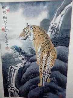 中国画<听泉图>。蔡亦飞作。46x66cm