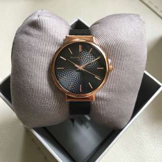 Olivia Burton Hackney Black Dial Mesh & Rose Gold Watch