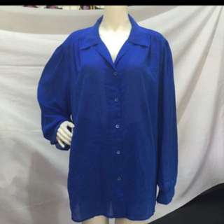 MG plus size blue see through button down blouse xl