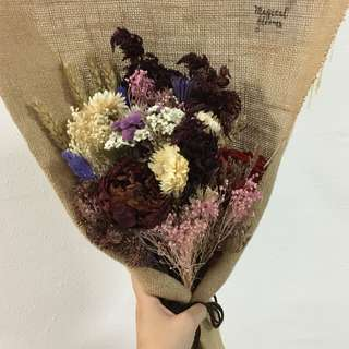 Burgundy Peony Dried Flower Bouquet