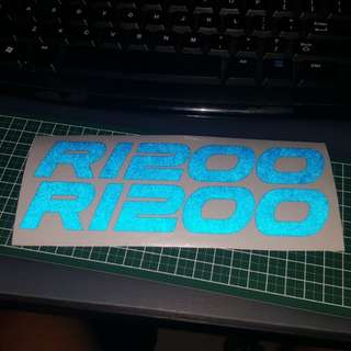 Bmw r1200 reflective blue font stickers