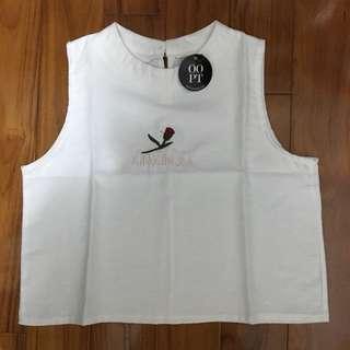 🚚 OOPT無袖短版玫瑰刺繡背心