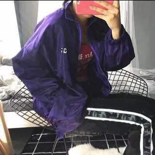 紫色立領風衣外套