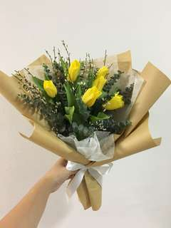 Yellow Tulips with Rustic Fillers