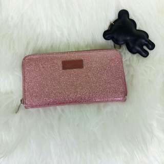 Stradivarius glitter wallet pink