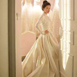 Wedding Collection - Full Body Covered Classic Long Lace Neck & Sleeves Design Long Tail Wedding Gown