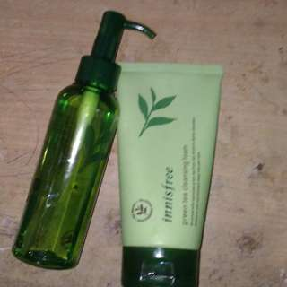 Innisfree green tea cleansing foam & moisture cleansing oil