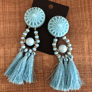 Sky blue cool tassel dangling earrings