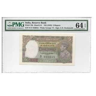 India (1943) P-18b PMG 64 EPQ 5 Rupees CD Deshmukh* Rare