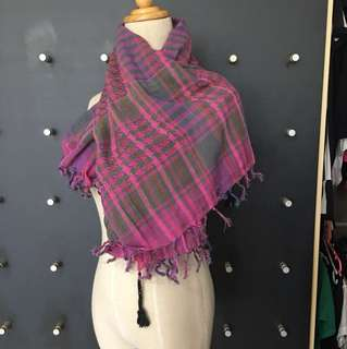 Brand new gingham Pink scarf with tassel