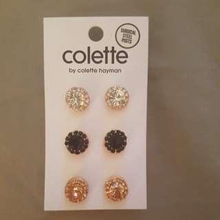 3 pack jewelled stud earrings