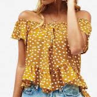 🌻Popcherry Size S(8) Yellow Polka Dot Top