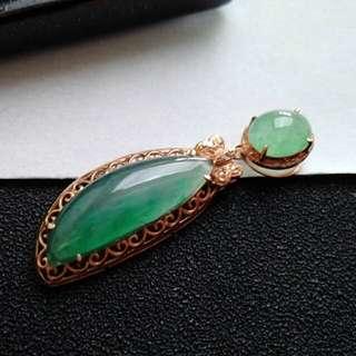 🎍18K Gold - Grade A Icy Green Cabochons Jadeite Jade Pendant🍀
