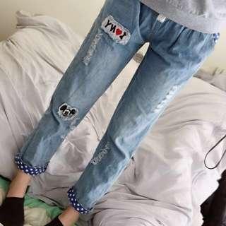 [二手長褲]夏季可愛卡通寬鬆七分褲-米奇圖樣👖