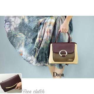 Handbag dior color block free cluth