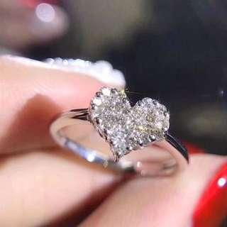 18k gold diamond heart shape ring 鑽石戒指