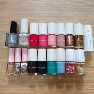 九成新 共18枝 Innisfree / Etude house/ Nature republic 指甲油 nail polish