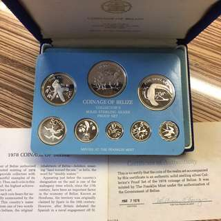 Belize 1978 sterling silver proof set