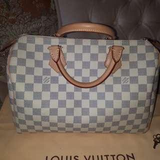 Preloved Authentic Louis Vuitton Speedy 30 Damier Azur Handbag