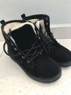 Winter boots with thick fur lining (wore once)