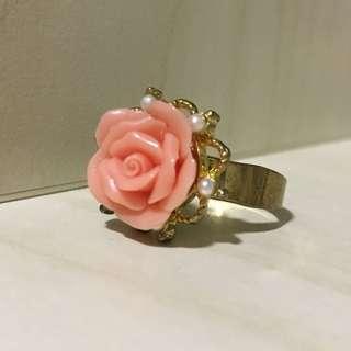 日本 玫瑰花珍珠戒指 rose ring