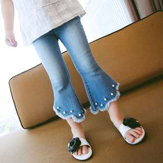 BMT340 - 3/4 Uneven Bellbottom Pearl Pant *Cotton Denim*
