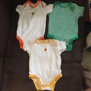 3 pcs Mothercare body suits  (6-9 months)