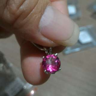 Necklace pink topaz