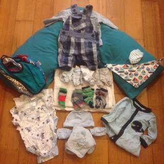 Baby boy bundle clothes pillow socks bibs