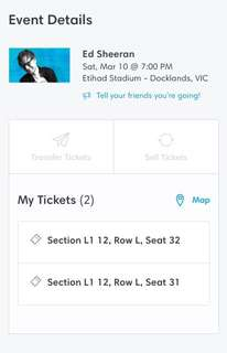 2x Ed Sheeran tickets