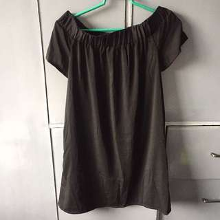 Folded and Hung Off Shoulder Dress