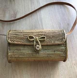 Ribbon Rattan Bag