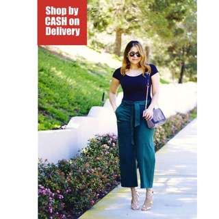 Black top green pants terno