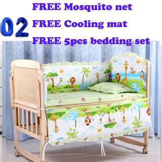Brand New wooden baby cot/bed/Free bedding set/Free mosquito net/Free cooling mat/stroller/sofa/bed